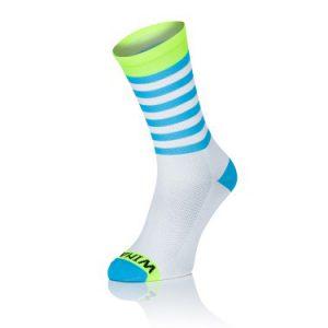 Winaar Blauw Wit Fluo Strepen Sokken
